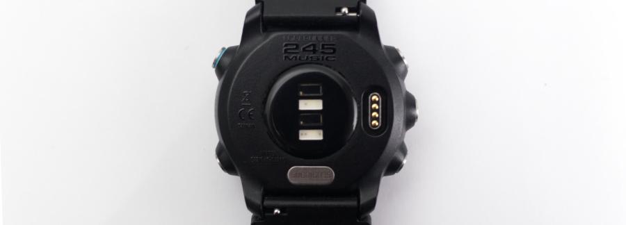 The optical Elevate heart-rate sensor on the Garmin Forerunner 245 GPS watch