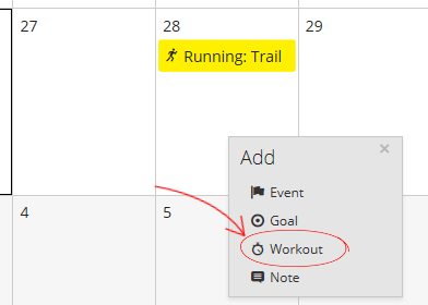 "A screenshot of the calendar in Garmin Connect with the ""Add Workouts"" menu open"