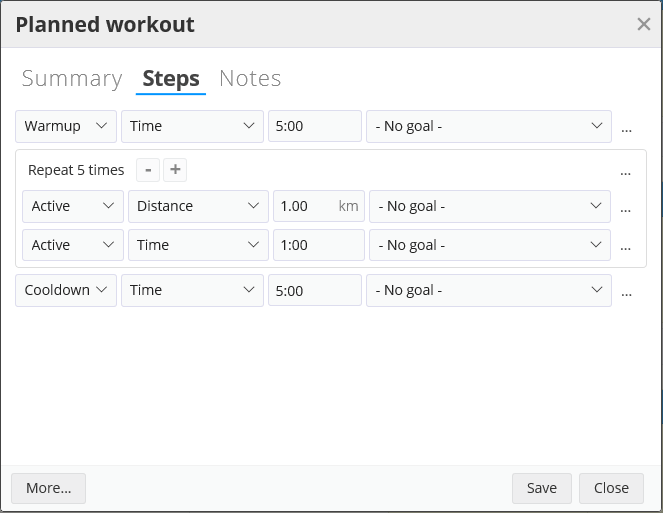 A multi-step planned workout in SportTracks endurance sports software