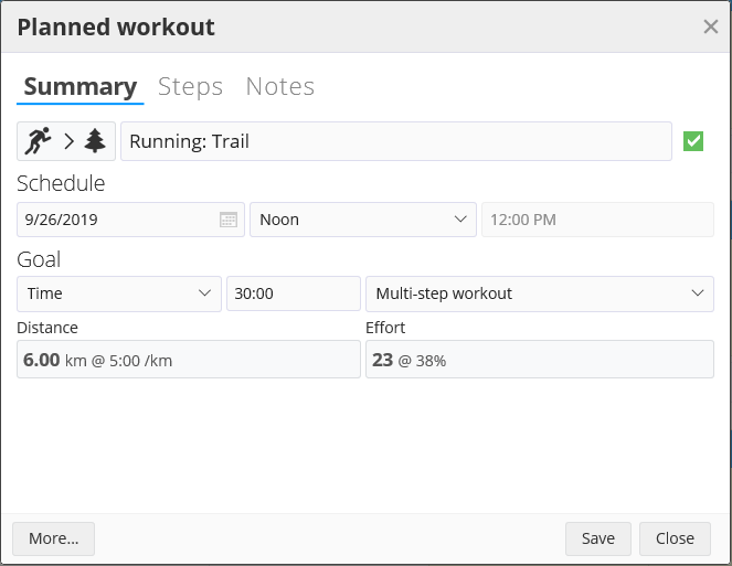 A planned workout in SportTracks endurance sports software