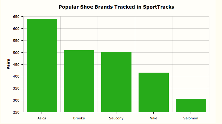 A chart showing popular running shoes used in SportTracks in 2019