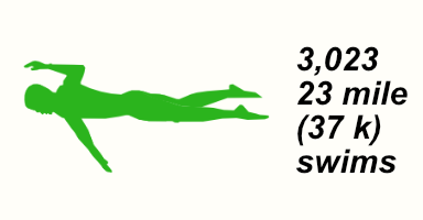 A graphic of a person swimming the freestyle forward crawl