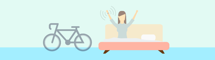 A graphic illustration of a female sitting up in bed wearing a smartwatch