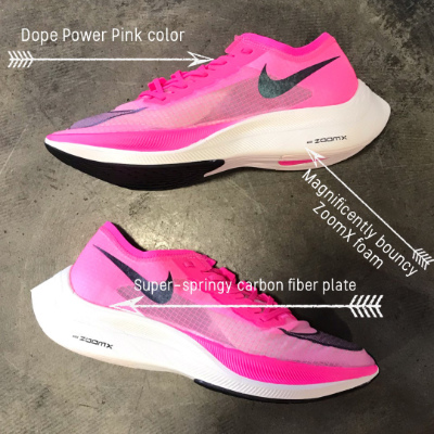 A pair of pink Nike VaporFly ZoomX Next % running shoes