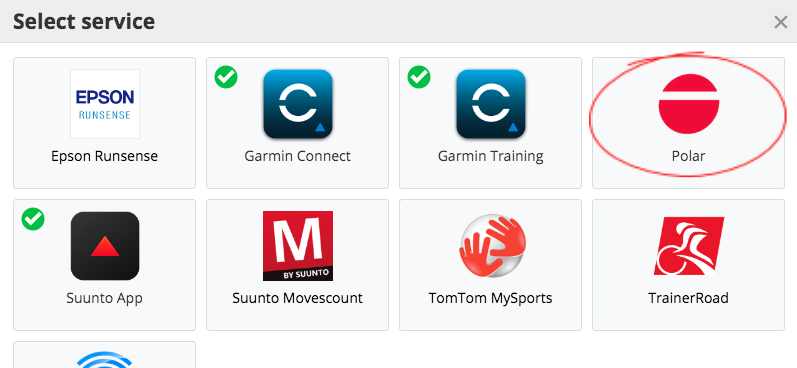 A screenshot of the sync-partners of SportTracks fitness software