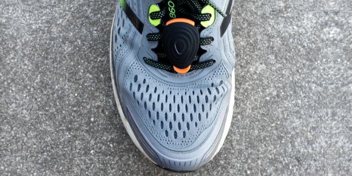 The New Stryd running power meter footpod on a New Balance V860v8 running shoe