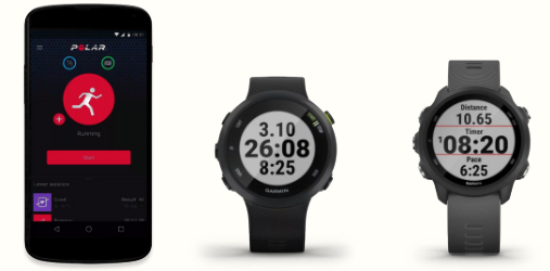 A photo of the Polar Beat app on an Android smartphone, the Garmin Forerunner 45 and the Garmin Forerunner 245 sports watches