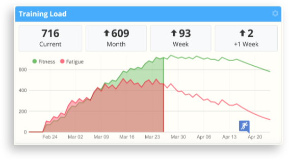 The training load chart in SportTracks endurance sports training and racing software