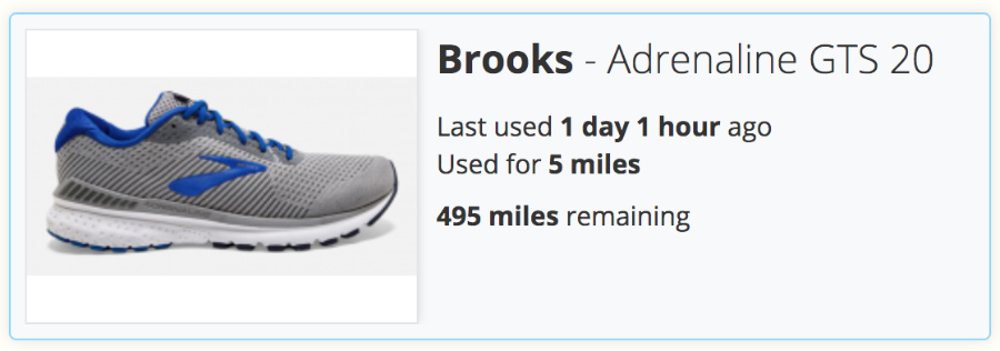 A screenshot of the Gear Tracking section of SportTracks endurance sports software with Brooks running shoes