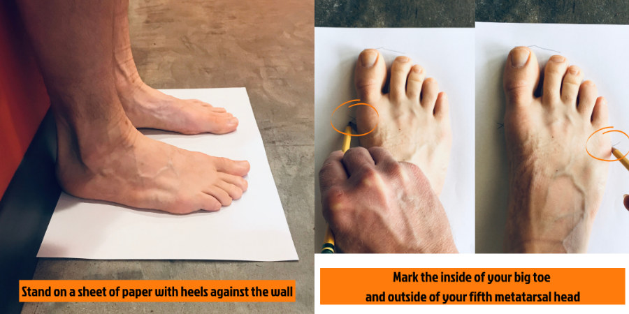 Photographs of bare feet being measured for show size using a sheet of paper and a pencil