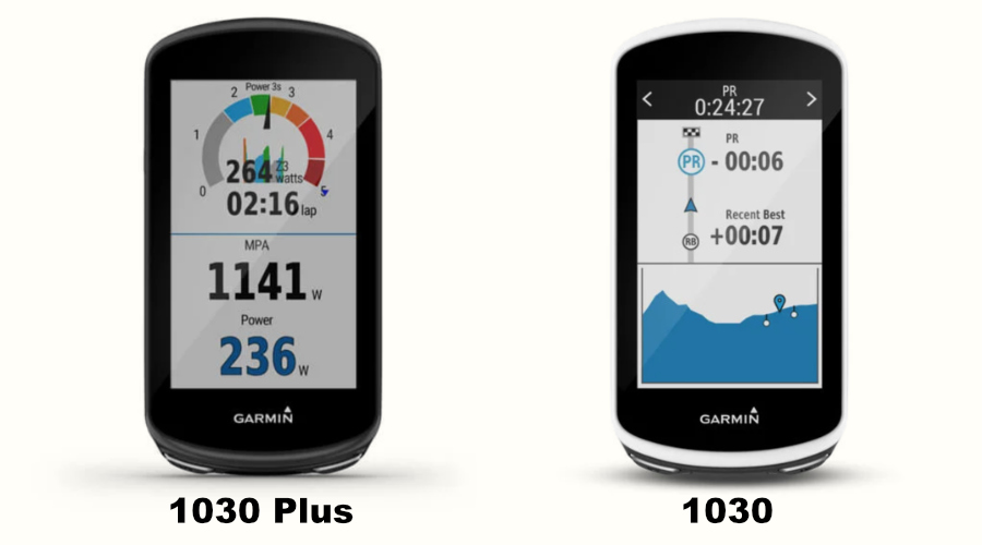 The Garmin 1030 Plus bike computer compared to the Garmin Edge 1030