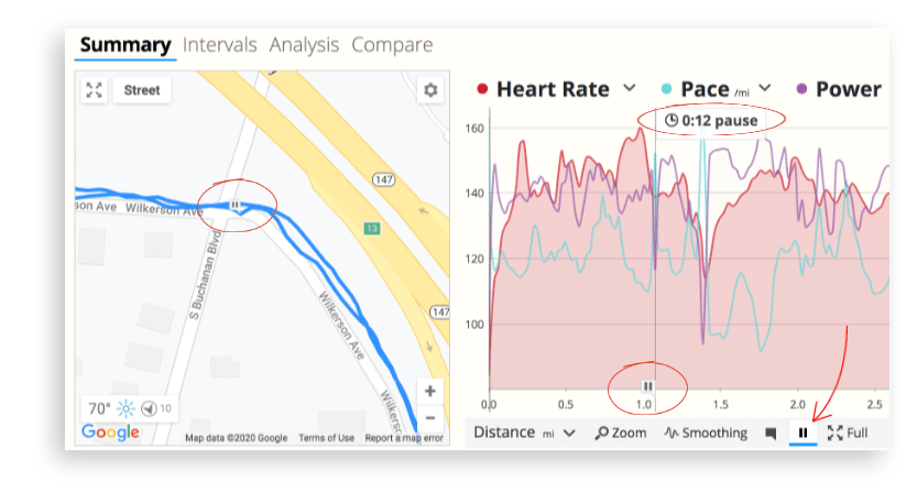 The workout detail pages in SportTracks show pause markers from running watches and bike computers