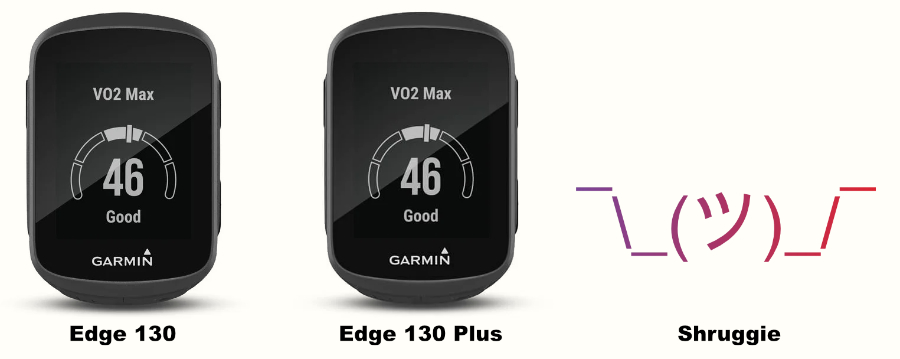 A comparison image of the original Garmin Edge 130 and the Edge 130 Plus