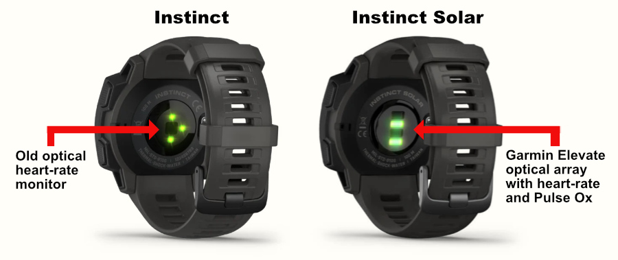 The back of the original Garmin Instinct sports watch compared to the back of the Garmin Instinct Solar