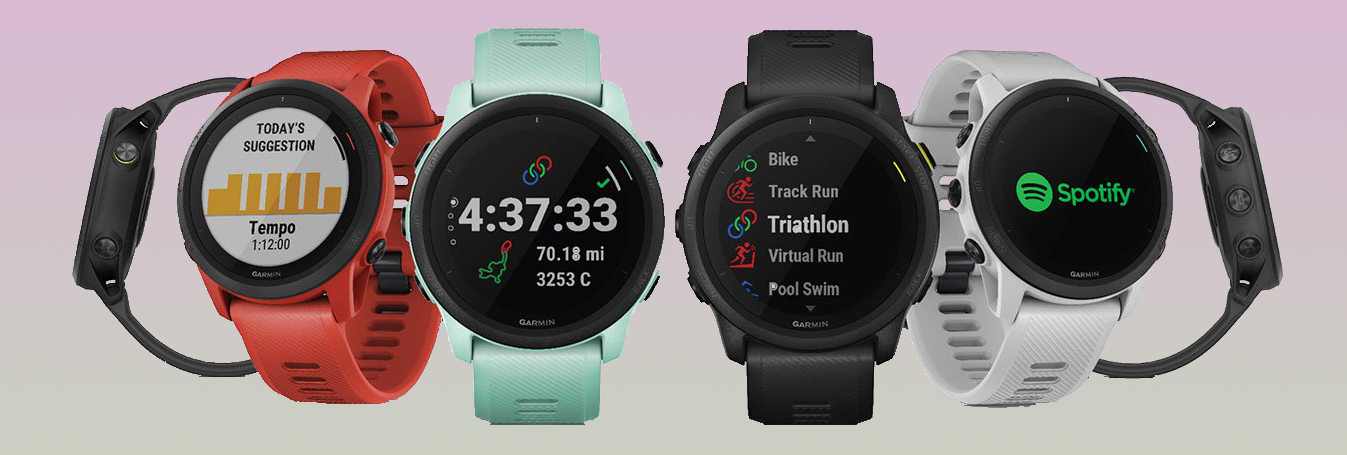 The Garmin Forerunner 745 multisport watch in different colors