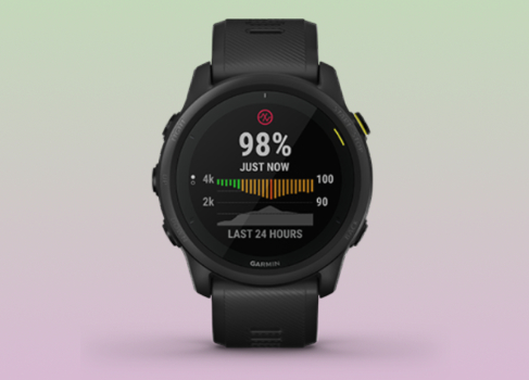 The Garmin Forerunner 745 multisport watch with the pulse ox screen
