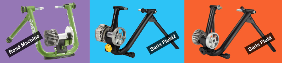 The Saris Fluid2, Kurt Kinetic Road Machine, and Saris CycleOps Fluid bike trainers
