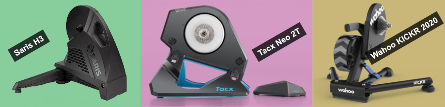 The Saris H3, Tacx Neo 2T, and Wahoo KICKR 2020 cycling smart trainers