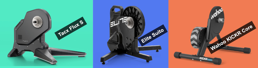 The Tacx Flux S, Elite Suito, and Wahoo KICKR Core bike smart trainers