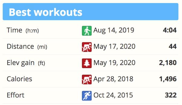 The Best Workouts list in SportTracks endurance sports training software