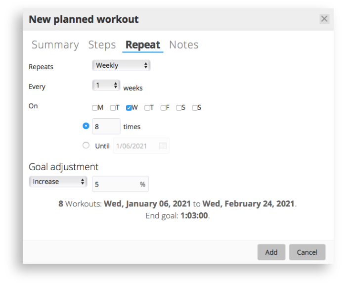 The planned workout screen in SportTracks endurance sports software showing repeating workout options