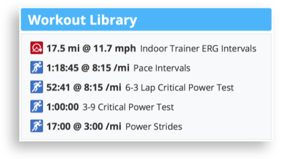 The Workout Library in the SportTracks endurance sports training calendar