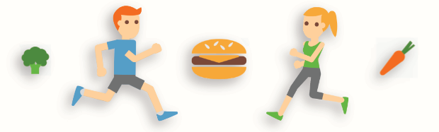 A graphic illustrations of runners, a hamburger, broccoli, and a carrot,