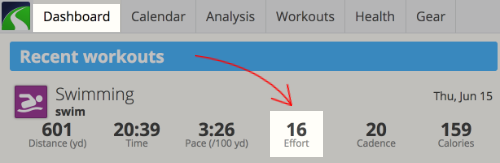 A screenshot of the SportTracks Dashboard highlighting the Effort metric
